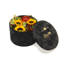 Wholesale Luxury Custom Design Printed Cardboard Flower Black Box Packaging Round Hat Boxes