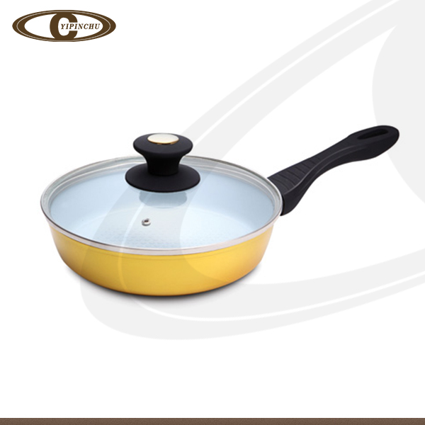 Forged aluminum frying pan copy die cast fry pan with glass lid