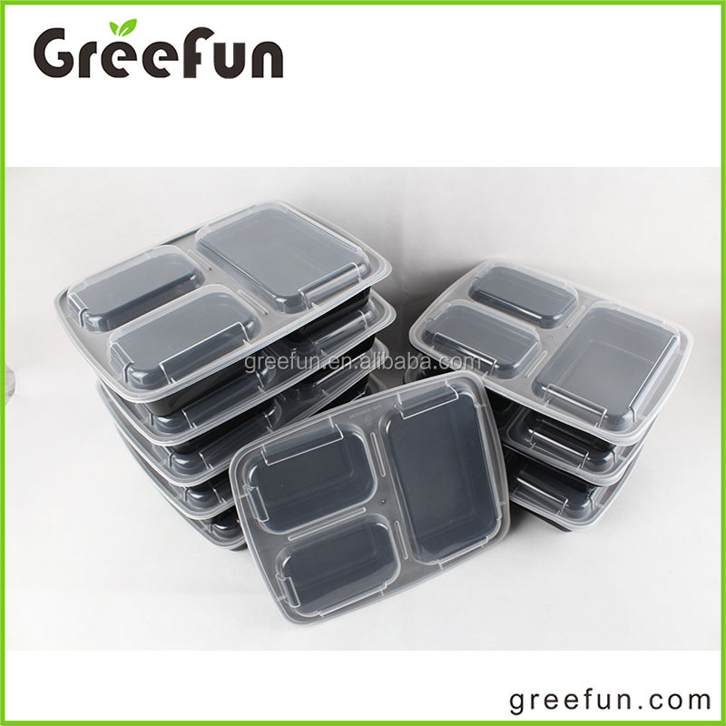 Custom Cardboard Sleeve Packing High Quality 3 Compartment Food Container , FDA Approval Meal Prep Bento Lunch Box Manufacture