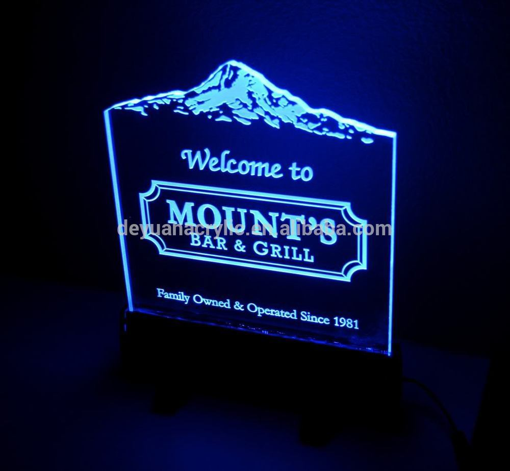Custom acrylic led edge lit sign/ LED acrylic sign