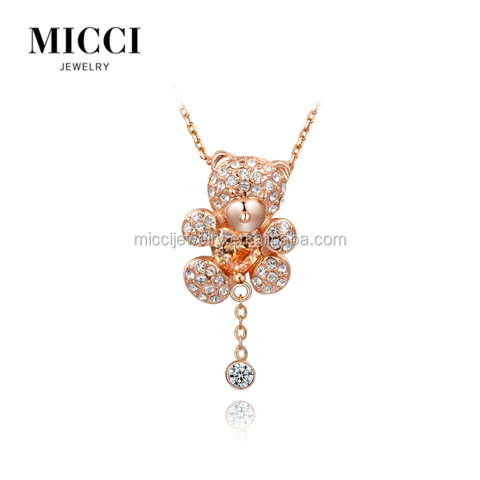 Hot selling fashion chian necklace diamond cheap alloy bear pendant necklace for <strong>1</strong> to 10 dollar store