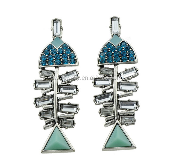 E53-<strong>100</strong> funny design vintage rhinestone fishbone earrings