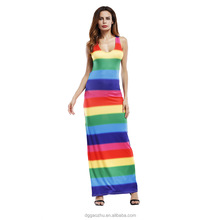 summer woman maxi dress Backless beach sundress rainbow printing colorful stripe long dress casual elegant party dresses
