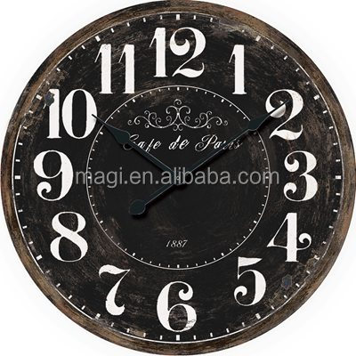 Vintage Black Round Wood Wall Home Decor Clock