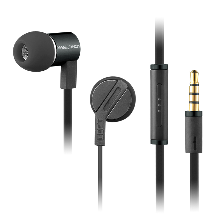 Wallytech W800 In-ear Earbuds Headphones With Microphone Aluminum Housing Headsets for iphone for Samsung Music earphones