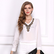 hot sale breathable sexy lady long sleeve slim fit chiffon women blouse