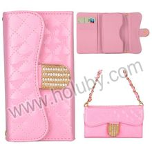 Universal Grid Pattern Wallet Handbag Style Flip Leather Case with Card Slots and Strap for iPhone4S/5/5C/5S