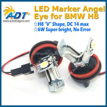 DC14V max H8 6W V shape No error code led angel eyes for bmw