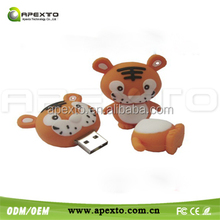 Little Tiger Sweet Silicone U Disk Hi-speed USB 2.0 Flash Drive 1GB -32GB Orange/Red/Blue