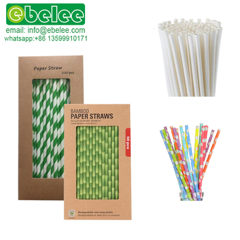 Biodegradable Jumbo Brown Kraft Gold Plain White Black Striped Individually Paper Wrapped Paper Straw Drinking