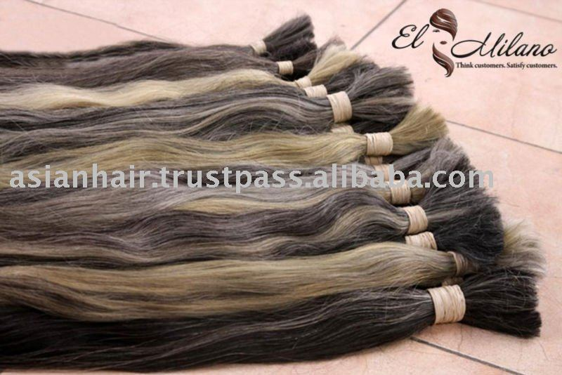 Natural Asian Grey Raw Human Hair