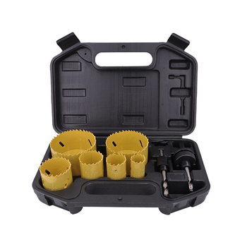 8Pcs HSS Bi-Metal Hole Saw Kit in Black Plastic Box for Cutting Metal Wood Plastic