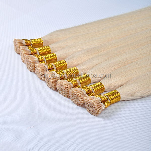 wholesale double drawn i-tip hair extensions with italy keratin glue