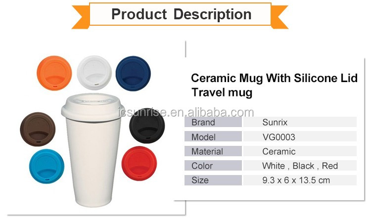 Ceramic Mug With Silicone Lid,Travel mug