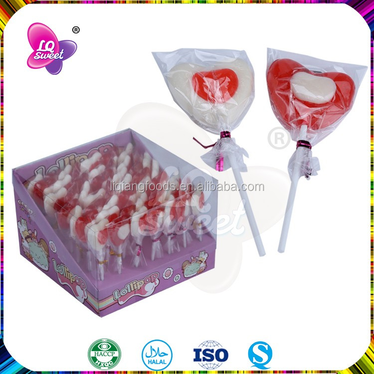 Halal Heart Candies With Strawberry Lollipop