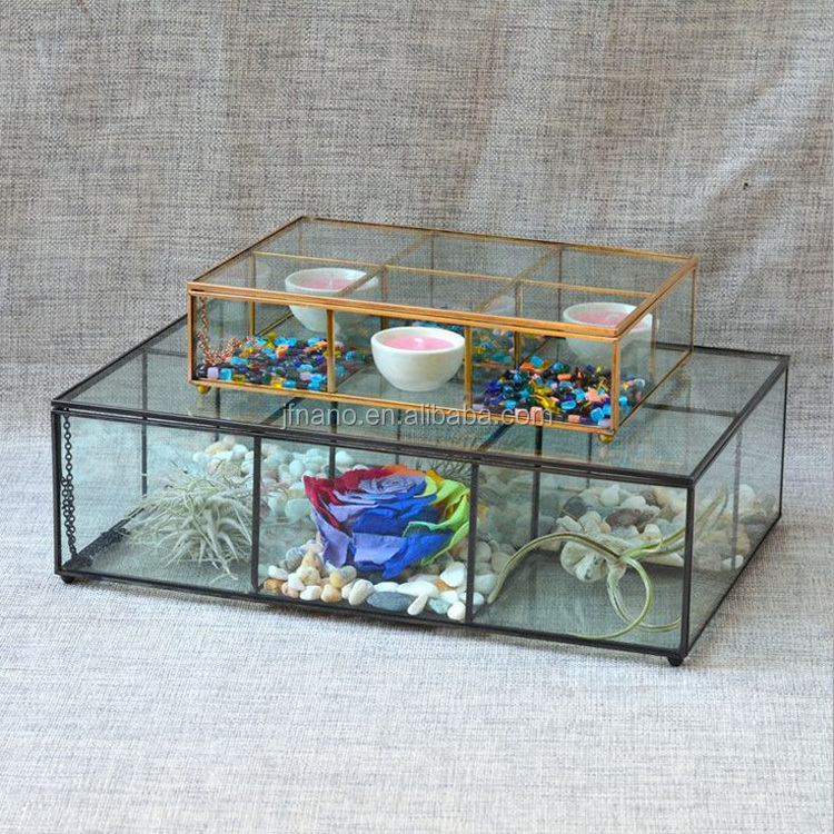 Rectangular clear glass storage box keepsake immortal flowers glass flower boxes