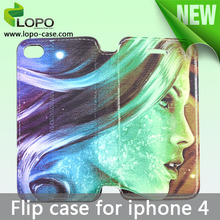 Fast delivery leather printing sublimation flip case for iPhone 4/4S