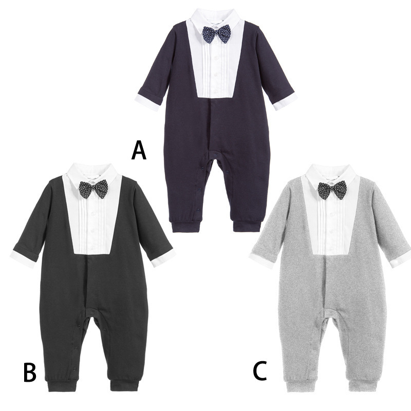 ZH0172L Newborn clothing hot sale black baby boys body suits with bow tie