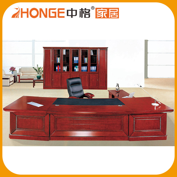 Solid Wood Modern Executive Leather Top Office Desk With Side Table