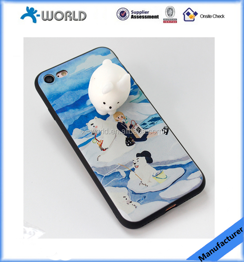 Hot selling Cute Cartoon 3D Squeeze toys squishy mobile phone case, kawaiicase soft case cover for iphone & android