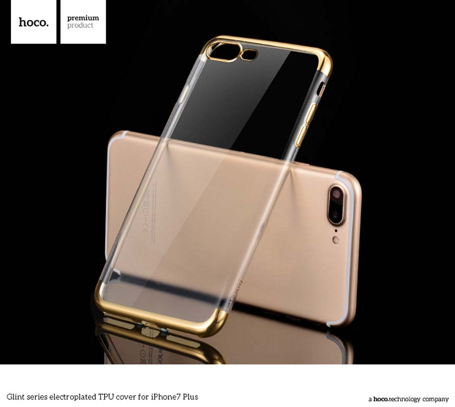 HOCO for i7 Plus Glint series electroplated TPU cover phone case flexible scratch proof camera protect housing lighting