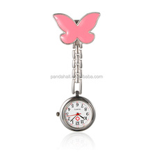 Pink Butterfly Alloy Nurse Table Pocket Watches, with Alloy Enamel Watch Band and Iron Clips(WACH-N007-01B)