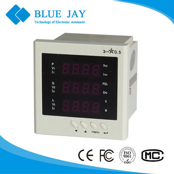 194E-9S4 LED Multifunction 96*96 panel Meter, 230V Active Power Meter For PLC Connect with 2 Channel Analog 4~20mA