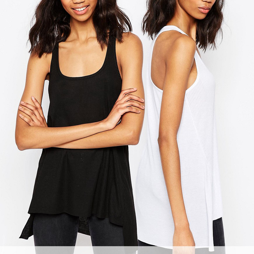 Factory Price Bulk Cheap Black Women Vests Custom White Lady Tank top Wholesale In China