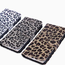 Luxury Folded Leopard Print Hard PU Case with Support Stand for iPhone 6/6s