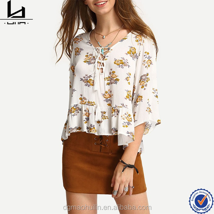 egyptian cotton clothing bestseller lace up v neck wpmen floral print ruffle hem blouse cotton