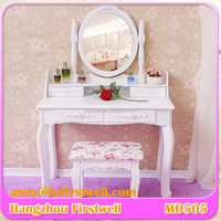 Fancy Dressing Table with Mirrors, Bedroom Furniture Girl Dressing Table