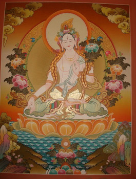 Thangka - Beautiful High Quality White Tara Tibetan Thangka Handmade in Nepal