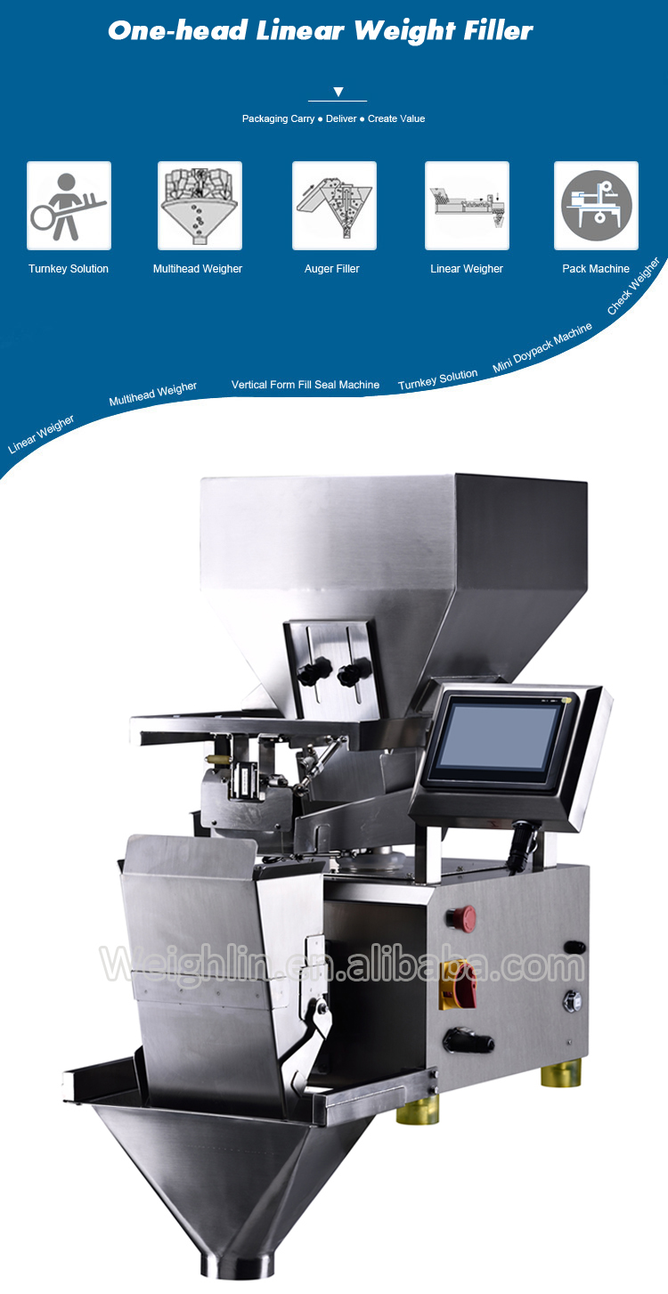 Automatic high precision single head linear weight filler packing machine for dried fruit candy peanuts peppercorns