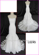 2014 sweetheart guangzhou real sexy tulle slim/sheath mermaid wedding gown/bridal dress with corset back/corded lace L0245
