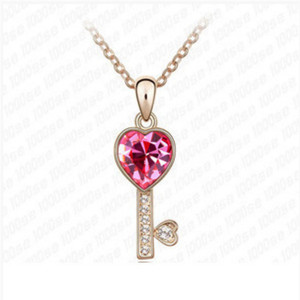 New fashion clavicle Austrian crystal necklace creative models wild alloy crystal key pendant accessories female