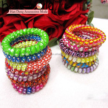 Medium-size thickly Mix Plastic Dots Telephone Wire Hair Accessories Hair Rope Band