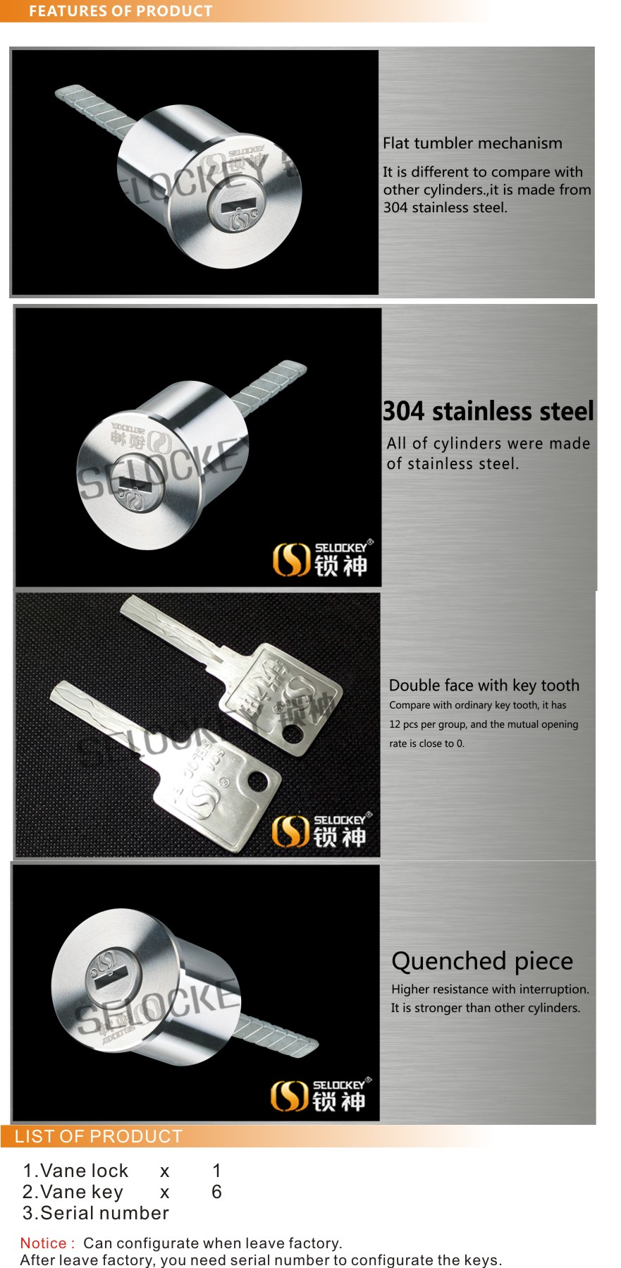 Cylinder of 304 stainless steel with flat tumbler mechanism with adjustable cross key cylinder lock for great race(YP-30)