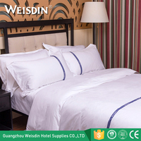 Low MOQ High Quality 100% cotton twin size luxury hotel bed linen bedding sets