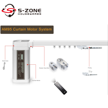 S-zone AM95 electric motorised curtain track system for bay window