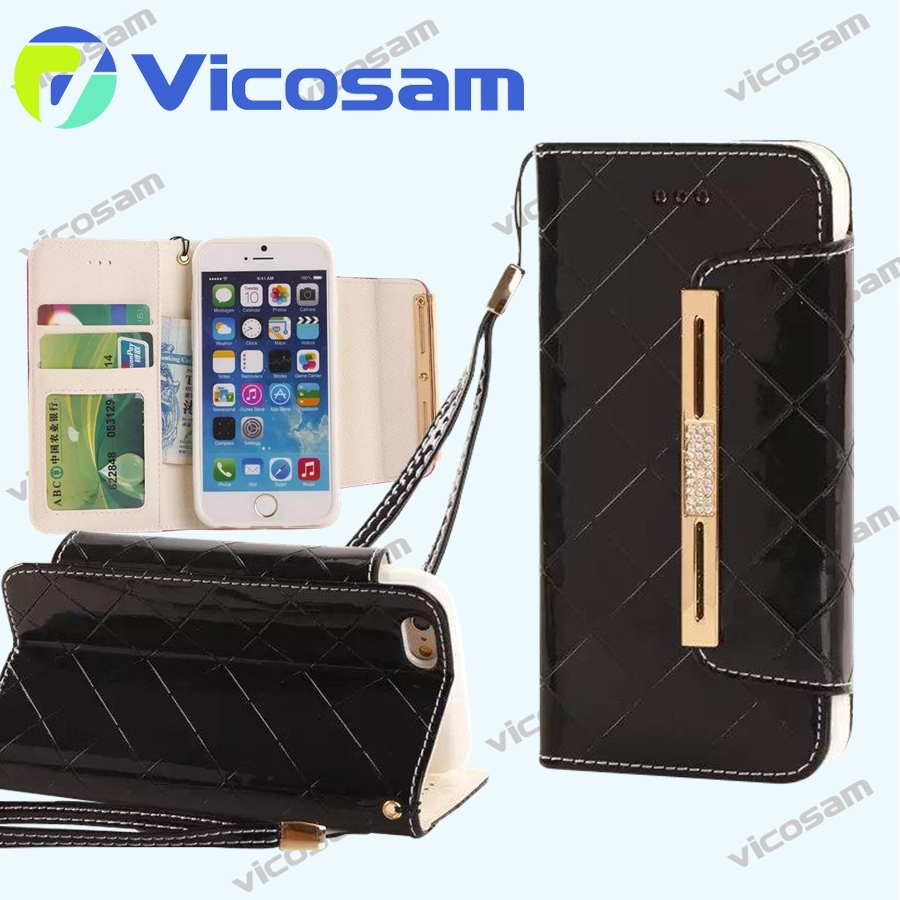 new design stand leather wallet iphone 6 case, top quality luxury case for iphone 6 plus