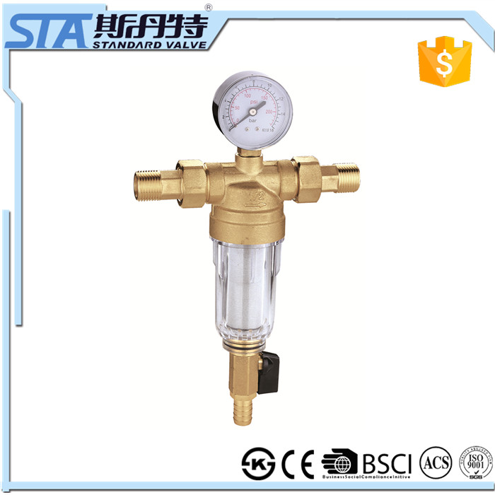 "ART.5073 Household 1/2"" forged body natural color sand blast brass sediment pre water filter with gauge meter for the pipeline"