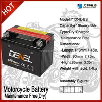 YTX4L-BS Maitenance Free with acid pack12v motorcycle battery with high performance/AGM battery