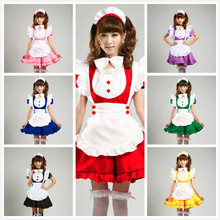 cosplay 7 color short sleeve women adult cute lolita maid costume uniform dress