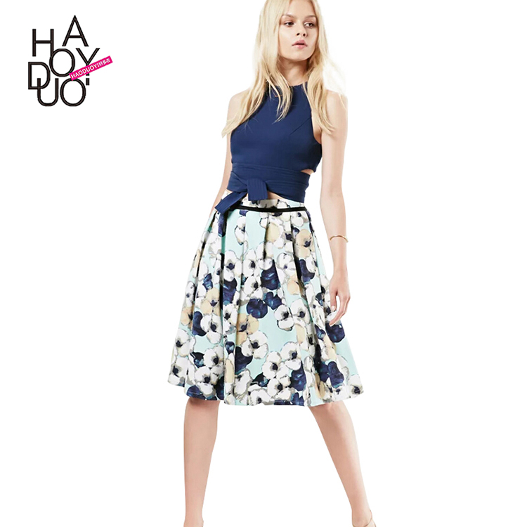 HAODUOYI Women Blue Floral Print High Waist Pleated A Line Skirt for Wholesale