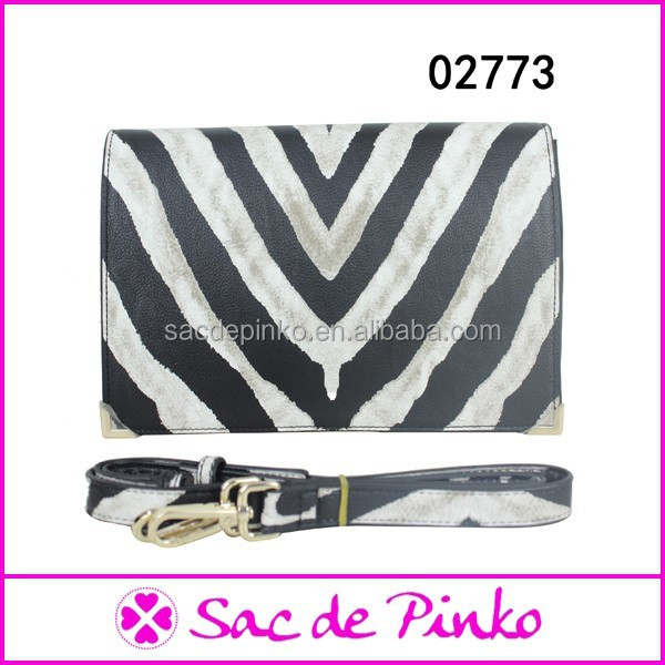 New design pretty mature lady zebra-stripe evening clutch bags