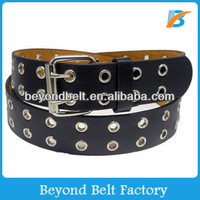 Beyond Mens Womens Trendy Double Grommets Hole Black PU Leather Belt