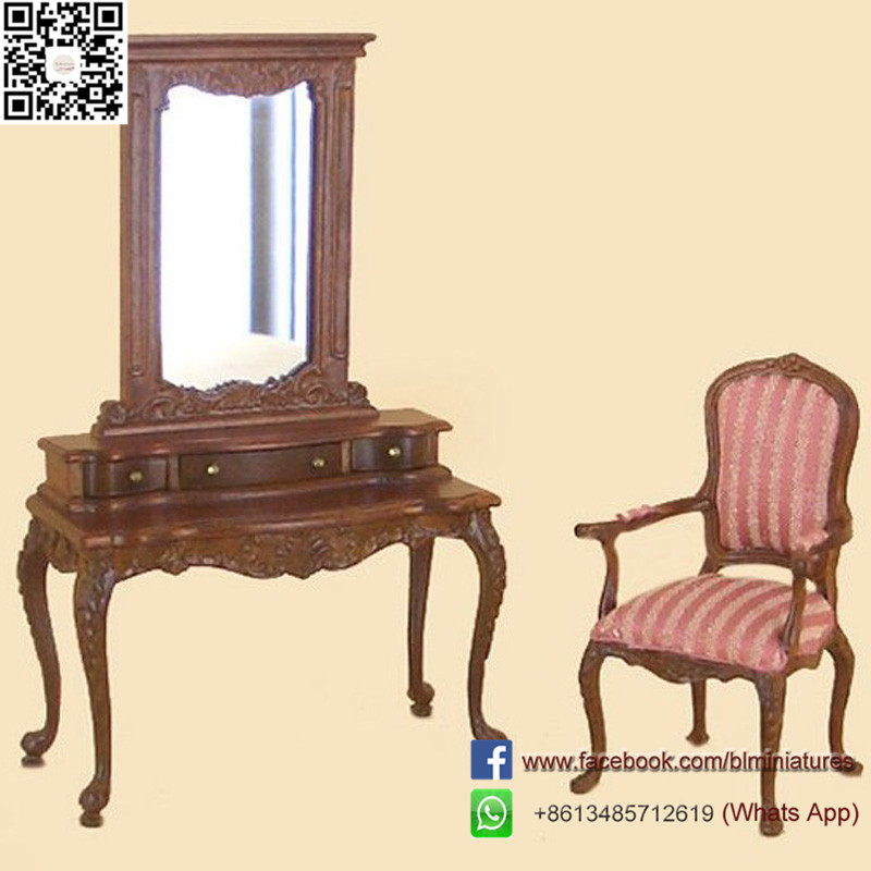 Wooden Dollhouse Toddler Educational Toys Chair and Dresser 1 Inch Doll Furniture