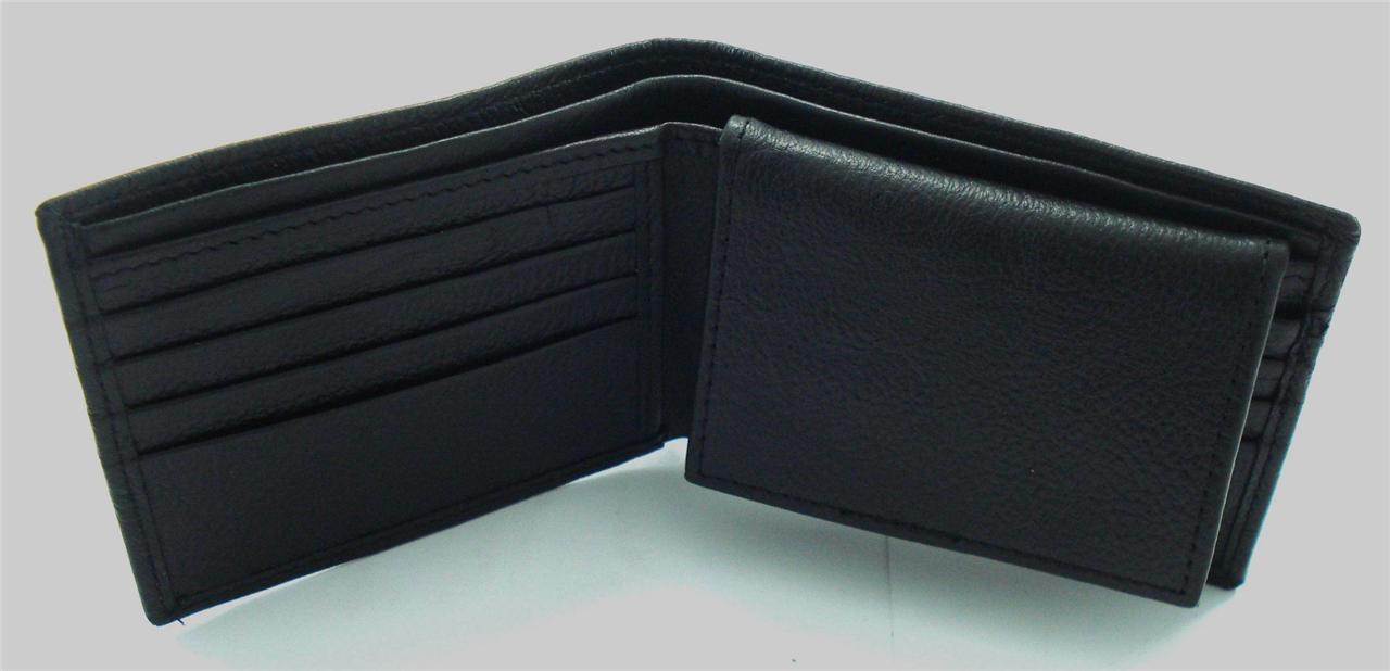 Just Leather Mens Wallet Bifold Soft Cowhide Leather Removable ID Card Case