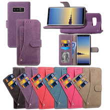 Retro Matte PU Wallet Leather Case For Samsung Galaxy Note 8 Flip Case Cover With Rotatable Card Slot Stand For Samsung Note 8