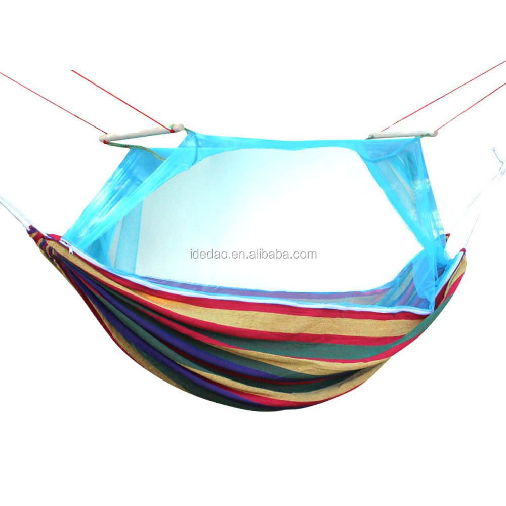 Outdoor mosquito net hammock double camping colour bar thicken canvas swing park A single swing hammock